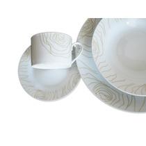 Juego De Vajilla De Porcelana X 40 Piezas Decorado Ondas
