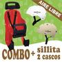 Combo Sillita Porta Niño Silla Nene Bicicleta + 2 Cascos
