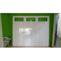 Porton Aluminio Blanco 1/4 De Vidrio, 240x200 Mts