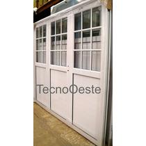 Porton Aluminio Blanco 1/2 Vidrio Repartido 3 Hojas 240x200
