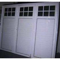Porton De Aluminio Blanco 1/4 Repartido Vidrio Arenado