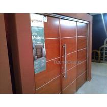 Portón Garage Madera Oblak Moderna 1283 Lustrado Premium
