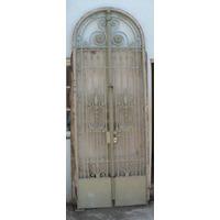 Antigua Puerta Reja De Frente De 2 Hojas De Hierro Forjada