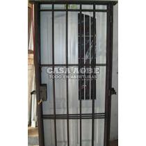 Puerta Reja 80x200 Hierro Cuadrado 1/2, C/ Marco Y Cerradura