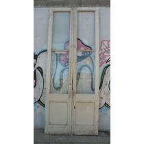 Antigua Puerta 2 Hojas Vidrio Repartido Pino Oregon