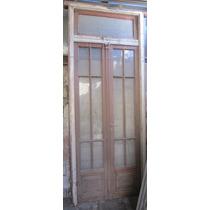 Puerta Doble Antigua Madera Vidrio Repartido