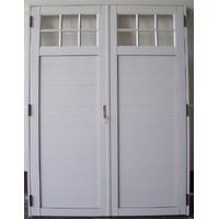 Porton Puerta Doble Aluminio Blanco 1/4 Vidrio Rep 160x200