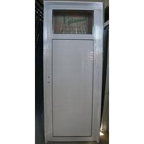 Puerta Exterior Aluminio Blanco 1/4 Vidrio Entero 80x200