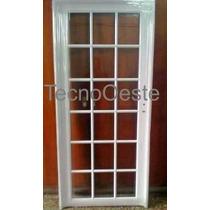 Puerta Exterior Aluminio Blanco Refozada Repartido 80x200
