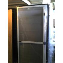 Puerta Mosquitero Aluminio Blanco 84x200 C/umbral Reforzado