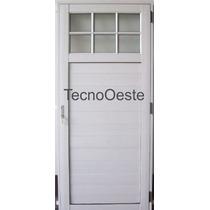 Puerta Exterior Aluminio Blanco 1/4 Vidrio Repartido 70x200
