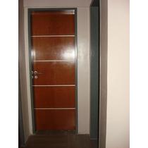 Puerta Placa Cedro Pesada 9 Mm Con Apliques De Aluminio 0,70