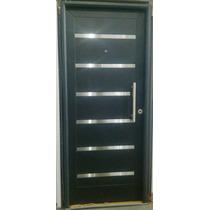 Puerta Entrada Exterior Pavir 90x200 C/barral Negra E-poxy