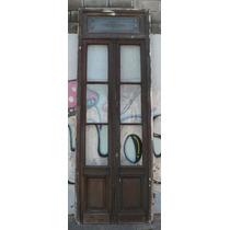 Antigua Puerta Cancel De 2 Hojas Vidriada De Cedro