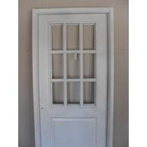 Puerta 1/2 Vidrio Repartido 80x200 Doble Chapa Inyectada