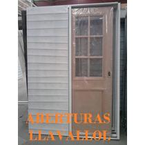 Puertas Corrediza 1/2 Vidrio Repartido Enchapado En Cedro