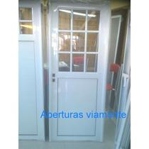Puerta Exterior Aluminio Blanco 1/2 Vidrio Repartido