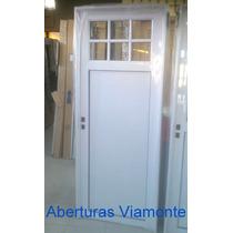Puerta Exterior Aluminio Blanco 1/4 Vidrio Repartido