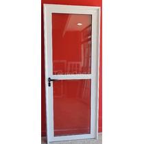 Puerta Aluminio Blanco Vidrio Entero 90x200 Cm C/cerradura
