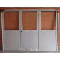 Porton Garage Exterior Aluminio Blanco 1/2 Vidrio 240x200 Cm