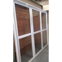Porton Garage Reforzado Aluminio Blanco Vidrio Entero 240 Cm