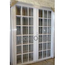 Porton Puerta Doble Aluminio Blanco Vidrio Repartido 160x200