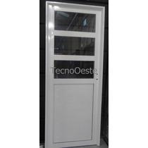 Puerta 1/2 Aluminio Blanco 3 Vidrios 4mm Horizontales 80x200