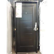 Puerta Inyectada Semi-premium 80x200 Negra C/manijon Nexo