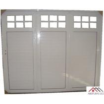 Porton Aluminio Reforzado 1/4 Vidrio Repartido 240x200
