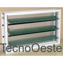 Ventiluz Aluminio Blanco 60x36 Con Vidrio Reja Mosquitero
