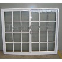 Ventanal Aluminio Blanco Vidrio Repartido 180x150 Con Vidrio