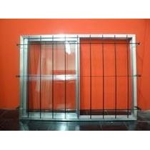 Ventana Aluminio Natural Con Vidrio Y Reja 100x90