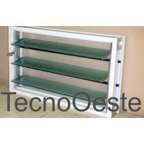 Ventiluz Aluminio Blanco 80x36 Con Vidrio Reja Mosquitero