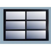 Ventana Aluminio Negro Vidrio Repartido Horizontal 150x110