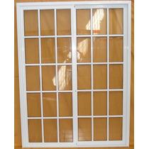 Ventana De 200*200 Aluminio Blanca Vidrio Repartido C/vidrio