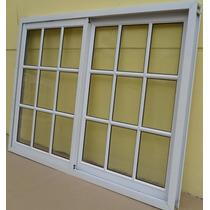 Ventana Aluminio Blanca Vidrio Repartido Con Vidrio 150*110