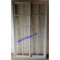 Puerta Balcon Aluminio Blanco 120x200 Vidrio Repartido