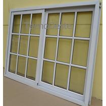 Ventana Aluminio 180x110 Blanco Vidrio Repartido C/vidrios