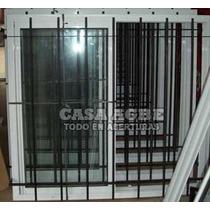 Ventana Aluminio Blanco V.r. 180x120, Con Vidrio Y Reja.