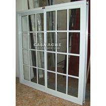 Ventana De Aluminio Blanco Vidrio Repartido 180 X 150