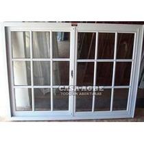 Ventana Aluminio Blanco Vidrio Repartido 150x120 Con Vidrio.