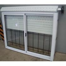 Ventana De Aluminio Blanca, Reja Y Persiana 150x110