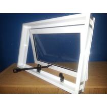 Ventiluz Con Brazo De Empuje Aluminio Blanco 060*040 Vidrios