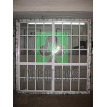 Ventana Balcon Aluminio Blanco Repartido 2,00x2,00 C/vidrio