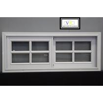 Ventana Aluminio Blanco Vidrio Repartido 150x40 Oferta!!!