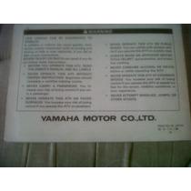 Yamaha Cuatri Yfm80e Manual Del Usuario Original !!!!!!!