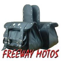 Alforja De Cuero Con Bolsillos Custom En Freeway Motos !