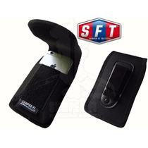 Bolso Porta Celular Grande-smartphone Con Fleje Negro - Sft®