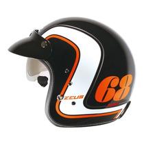 Casco Abierto Zeus Gj 380 Matt Black Orange Visor Visera
