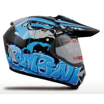 Casco Cross V-can V370 Bombing C/ Visor Enduro Freeway Motos